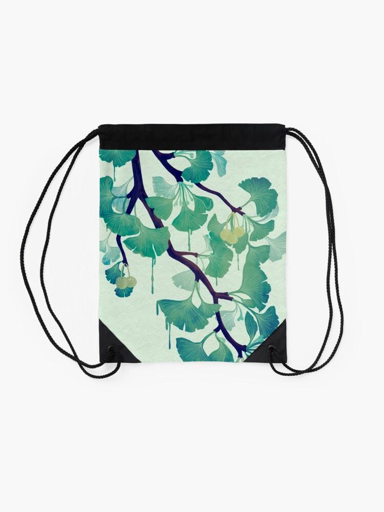 Alternate view of O Ginkgo (in Green) Drawstring Bag