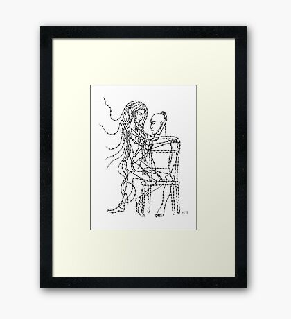 Barb Wire Love ink pen drawing Framed Print