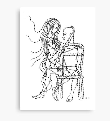 Barb Wire Love ink pen drawing Canvas Print
