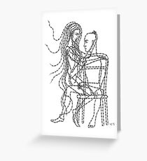 Barb Wire Love ink pen drawing Greeting Card
