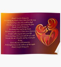 Thank You for Being You Poetry Greeting Card Poster