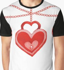 Watercolor Red Heart Lock Hanging Pattern Graphic T-Shirt