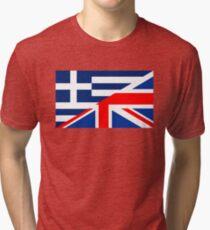 uk greece flag Tri-blend T-Shirt