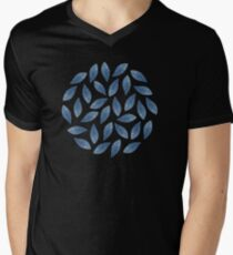 Blue Watercolor Leaves Pattern T-Shirt