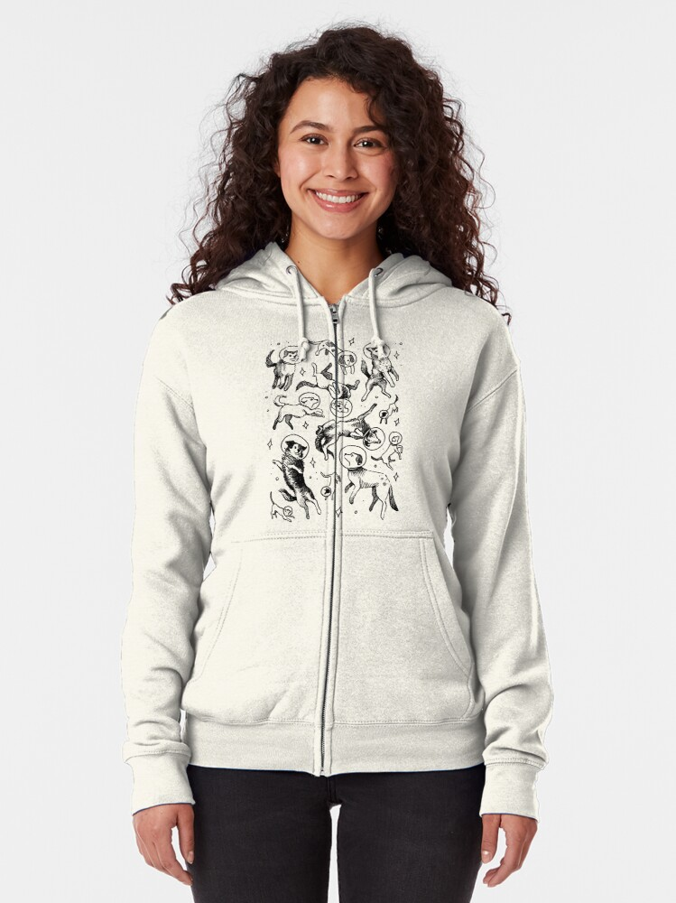 Alternate view of Space dogs Zipped Hoodie