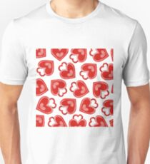Watercolor Red Heart Locks Patterns T-Shirt