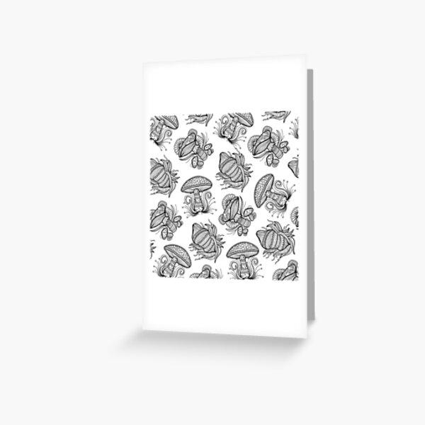 Black and White Mushroom Lineart Mandala Design Greeting Card