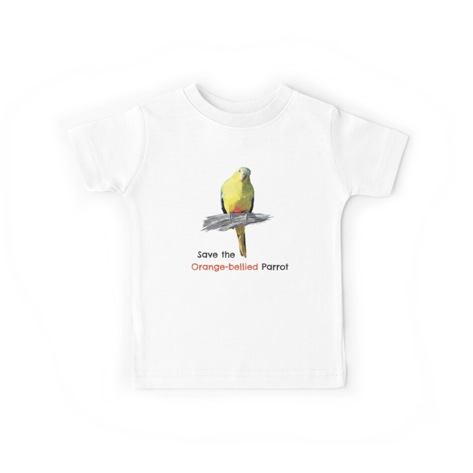 Orange-bellied Parrot Kids & Babies Teeshirts, Rompersuits by OBparrot