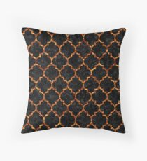 TILE1 BLACK MARBLE & COPPER FOIL Throw Pillow