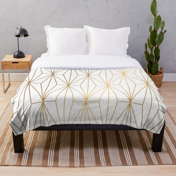 Gold Geometric Pattern Illustration Throw Blanket