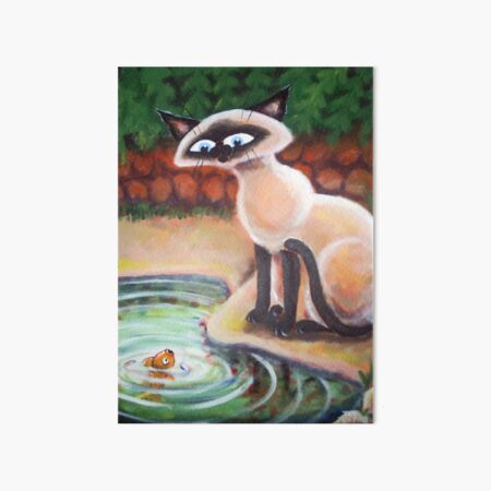 Three Cats Fishing - Right Panel Art Board Print