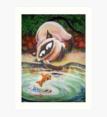 Three Cats Fishing - Middle Panel Art Print