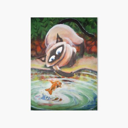 Three Cats Fishing - Middle Panel Art Board Print