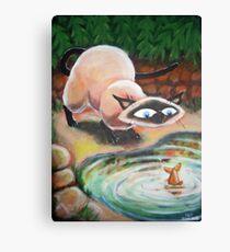 Three Cats Fishing - Left Panel Canvas Print