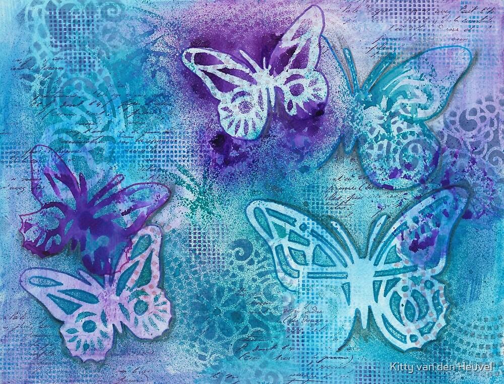 Butterflies in blue and purple - mixed media by Kitty van den Heuvel
