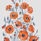 Poppies floral light grey by Ruta Dumalakaite