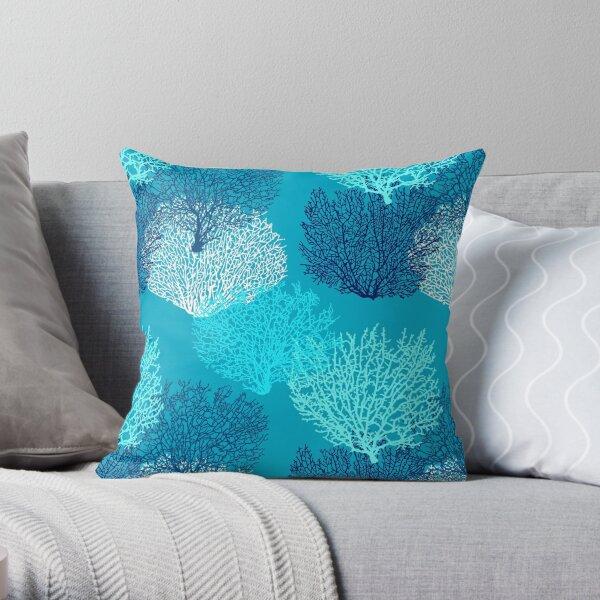Fan imprimé corail, Turquoise, Aqua et bleu cobalt Coussin