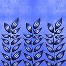 Pattern Of Blue Abstract Plants With Sharp Leaves by Boriana Giormova