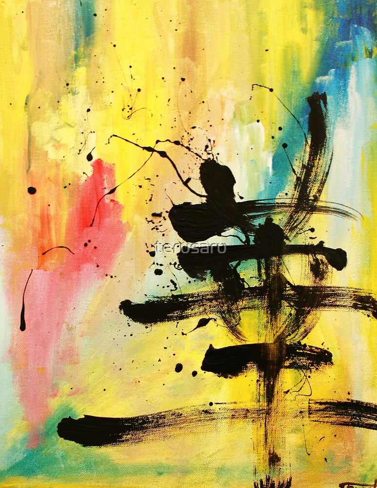 HANA Japanese KANJI painting abstract by terusaru