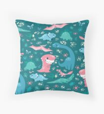 Dino Cutie Pattern in Green Throw Pillow