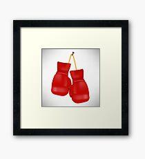 Red Boxing Gloves Isolated on White Background. Framed Print