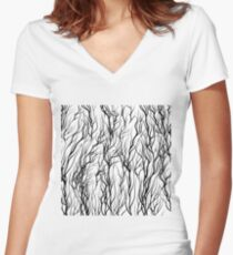 Black Trees on White  Background. Natural Pattern Women's Fitted V-Neck T-Shirt