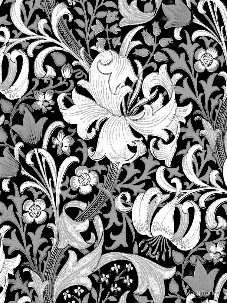William Morris Iris and Lily, Black and White by Marymarice