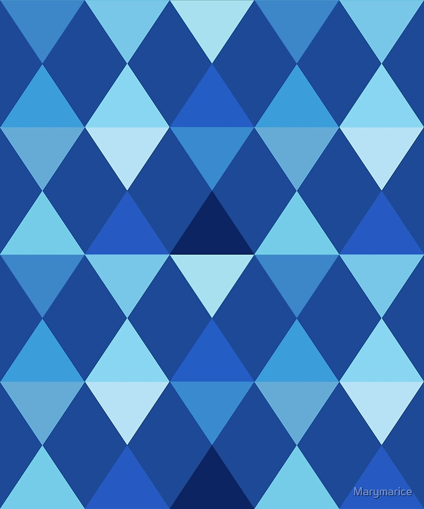 Harlequin Pattern, Denim Blues by Marymarice
