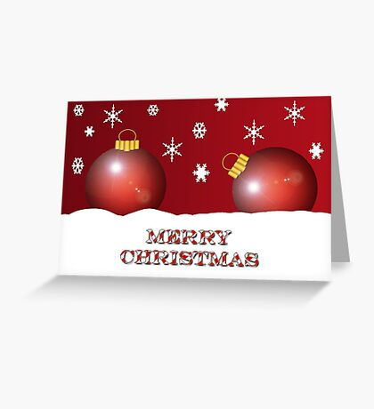 Merry Christmas Ornaments With Snowflakes  Greeting Card
