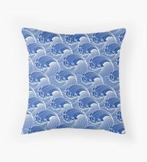 Vintage Japanese Waves, Cobalt Blue and White Throw Pillow