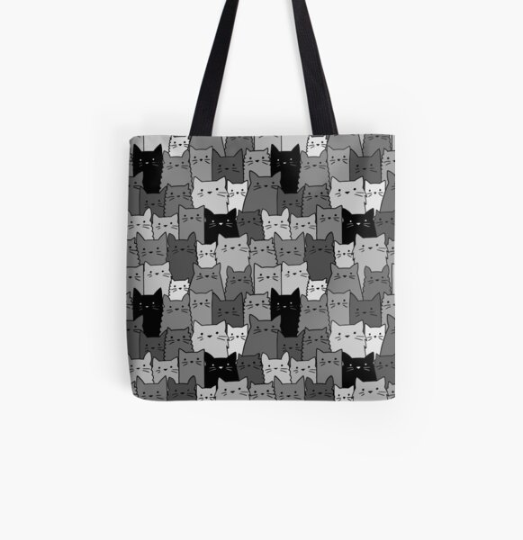 Silent Cats Monochromatic All Over Print Tote Bag