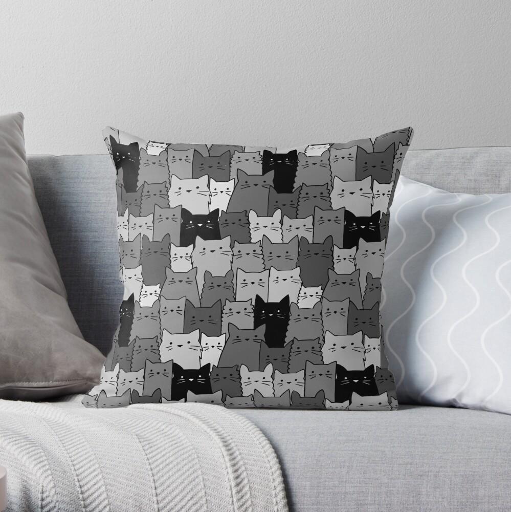 Silent Cats Monochromatic Throw Pillow