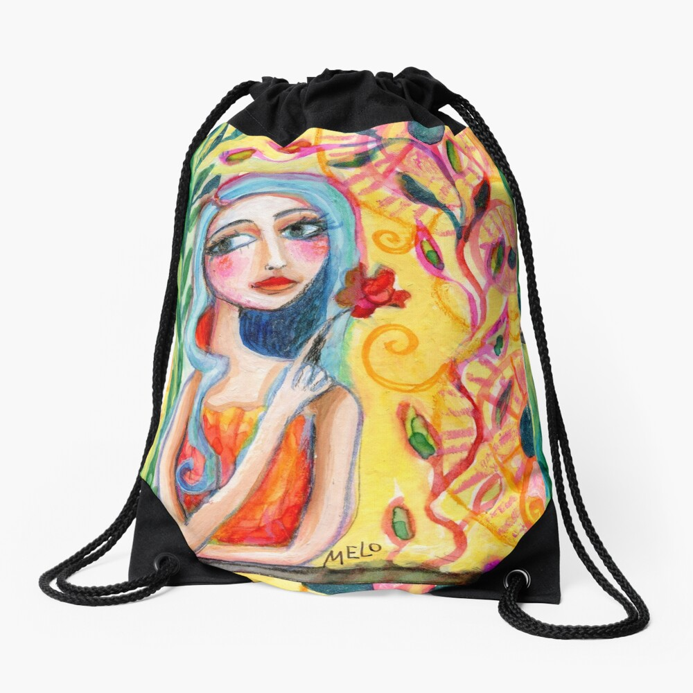 Girl in the Garden 2 Drawstring Bag