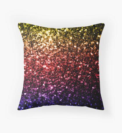 Beautiful rainbow yellow red purple sparkles Throw Pillow