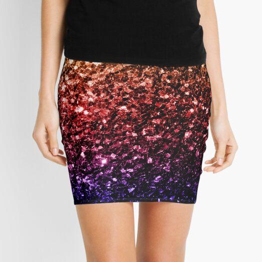 Beautiful rainbow yellow red purple faux sparkles Mini Skirt