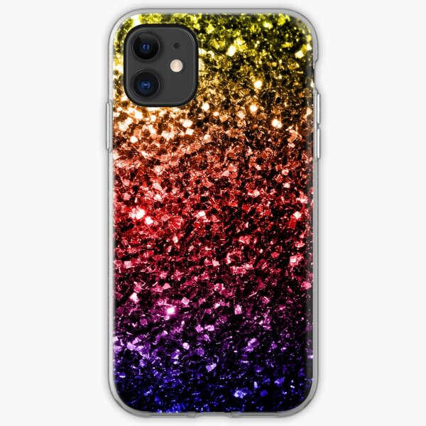 Beautiful rainbow yellow red purple sparkles iPhone Soft Case