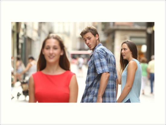 """Guy looking back meme"" Art Print by Bebito | Redbubble"