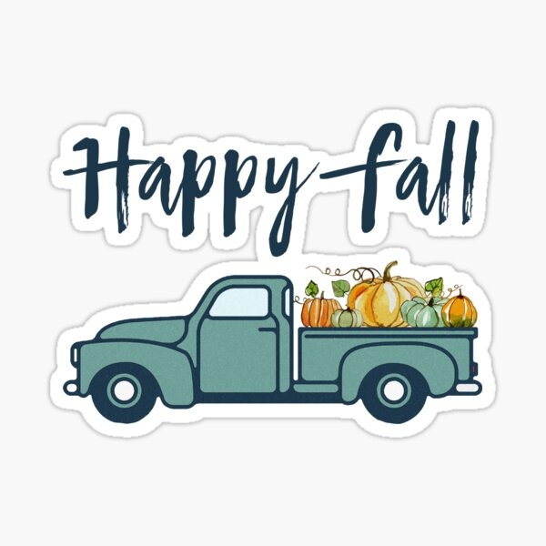 Happy Fall Vintage Pumpkin Truck Sticker