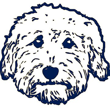 Goldendoodle face in navy and green!  by smooshfaceutd