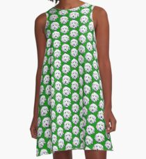 Goldendoodle face in navy and green!  A-Line Dress