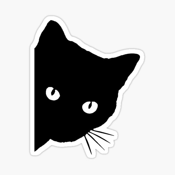 Peeping Black Cat Sticker