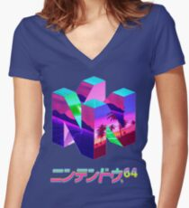 Nintendo 64 Vaporwave Women's Fitted V-Neck T-Shirt