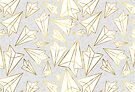 Paper Airplanes Gold Grey by Beth Thompson