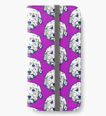 Goldendoodle face silhouette! Adorable doodle dogs with purple background iPhone Wallet