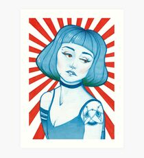 Blue Girl Red Sun Art Print