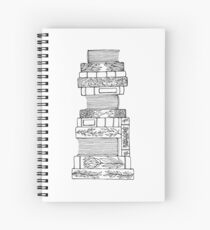 Black and White Floral Book Stack Spiral Notebook