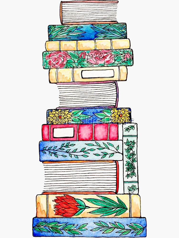 Autumnal Floral Book Stack by gentlecounsel