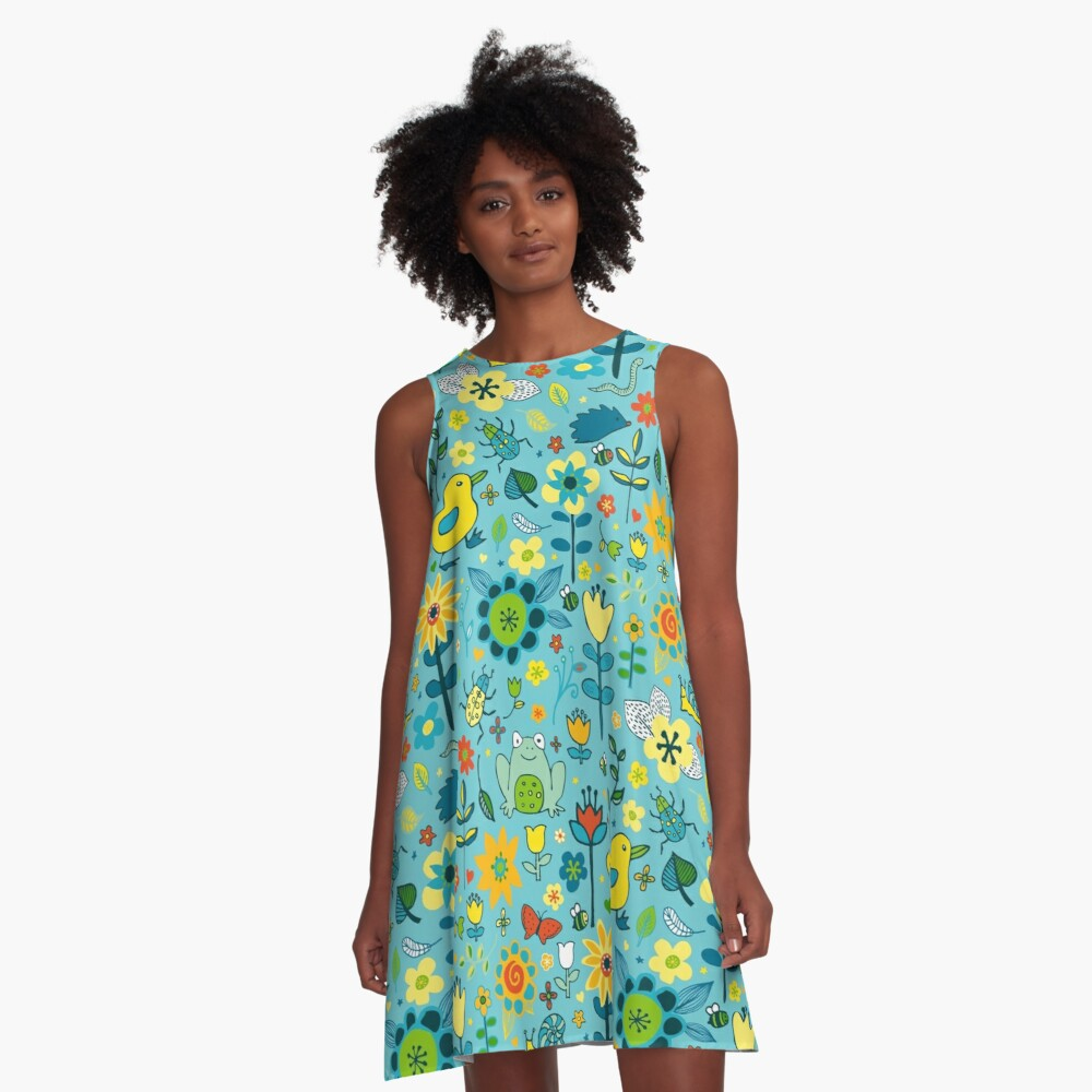 Ducks and Frogs in the Garden - Aqua and Lemon - floral pattern by Cecca Designs A-Line Dress