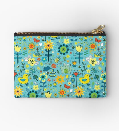 Ducks and Frogs in the Garden - Aqua and Lemon - floral pattern by Cecca Designs Studio Pouch
