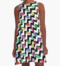 Triceratops Colourful Black White Zigzag Pattern A-Line Dress